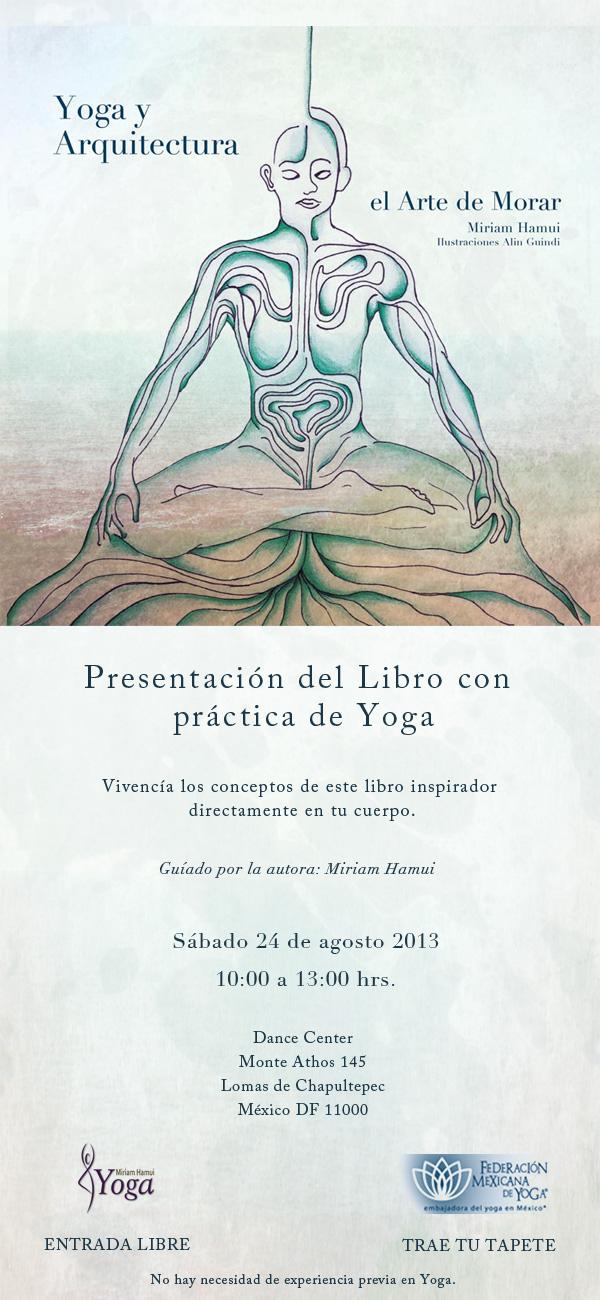 Flyer presentación de libro con yoga